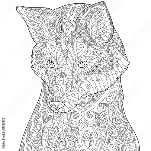 Stylized Fox Wolf Or Dog Isolated On White Background Freehand Sketch For