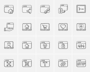 Technology sketch icon set.