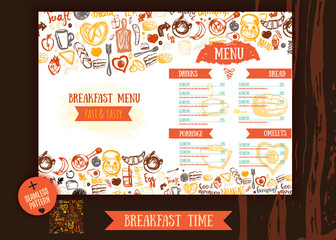 Breakfast menu design template. Modern hand-drawn sketch with lettering with Bread, cake, tea, eggs. Food design template with seamless pattern.