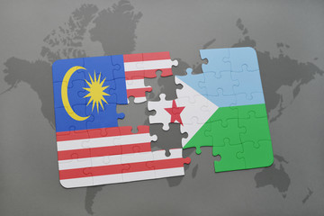 puzzle with the national flag of malaysia and djibouti on a world map background.