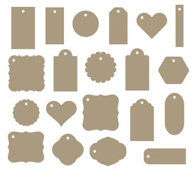 Set of vector gift tag, discount label. Twenty different shapes.