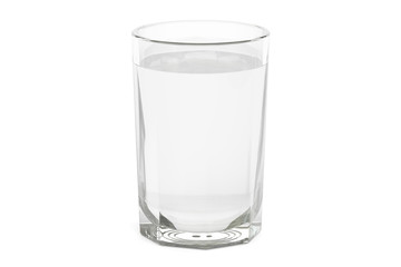 Glass with water or vodka, 3D rendering