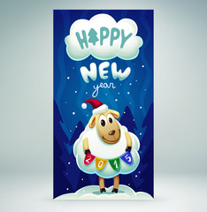 New year card with a cute sheep