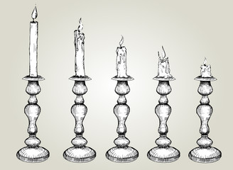 Vector Set of Sketch Candles in candlestick. Hand drawn Black and white illustration, Process of Candle Burning.isolated