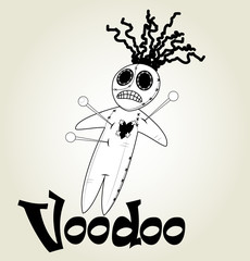 Cute black and white Voodoo doll