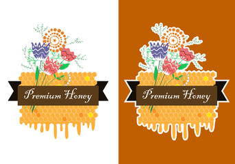 Wall Mural - Vector hand drawn honey label with comb and flower bunch. Honey labels set. Meadow honey banner
