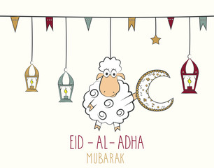 Eid Al Adha mubarak. Hand drawn poster. Colorful hanging lantern. Vector illustration.