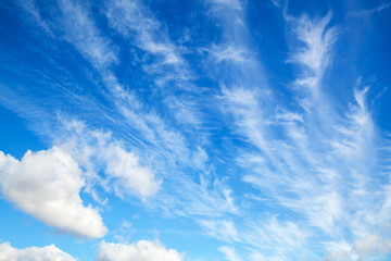 Blue sky with white altocumulus clouds layer