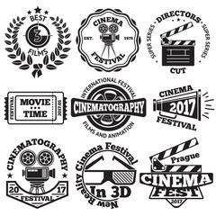 Set of Cinema badges with camera, clapboard, ticket etc. Vector