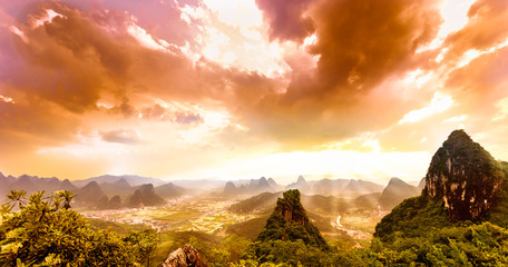 sunset from moon hill in yangshuo