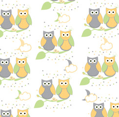 colorful vector illustration of owls sitting on branch on white background