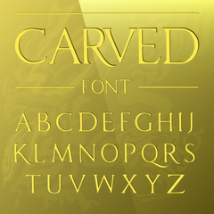 Carved Font / engraved on gold / modern typeface / golden letters
