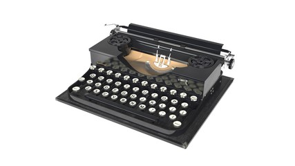 Typing machine, old vintage typewriter isolated on white background, 3D illustration