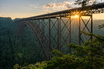 Photo sur Aluminium Pont Sunset at the New River Gorge Bridge in West Virginia