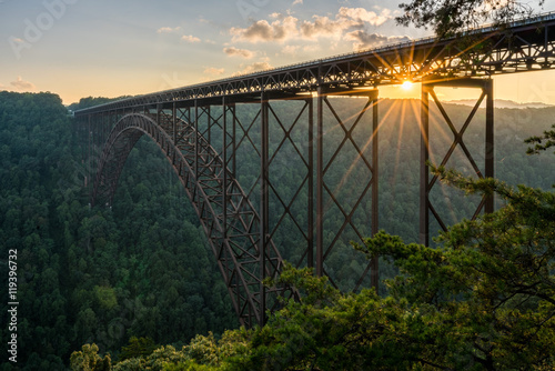 Fototapete Sunset at the New River Gorge Bridge in West Virginia