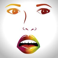 face lips woman pop art d vector illustration design