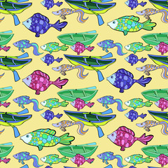 seamless pattern of boat, fishing on a yellow background