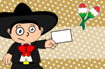 funny kid mexican mariachi cartoon expressions background very easy to edit