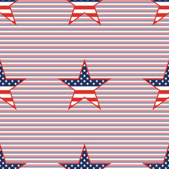US patriotic stars seamless pattern on red and blue diagonal stripes background. American patriotic wallpaper with US patriotic stars. Tillable pattern vector illustration.