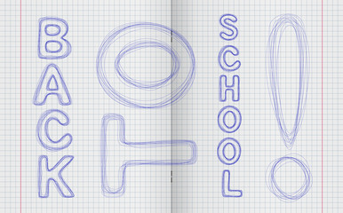 Pen inscription Back to school on the turn notebooks