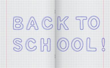 Pen inscription Back to school on the turn notebooks