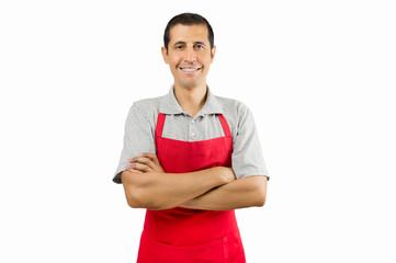 shopman smiling