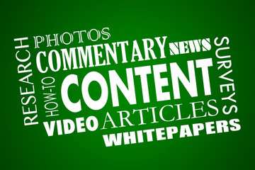 Content Marketing Articles Video Whitepapers Word Collage 3d Ill