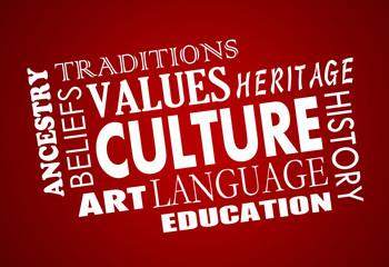 Culture Heritage Diversity Language Word Collage 3d Illustration