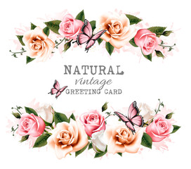 Fototapete - Natural vintage greeting card with roses. Vector.