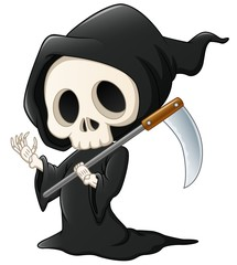 Grim reaper cartoon waving hand