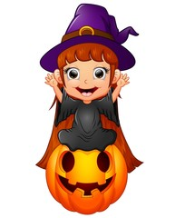 little witch cartoon sitting on the pumpkin