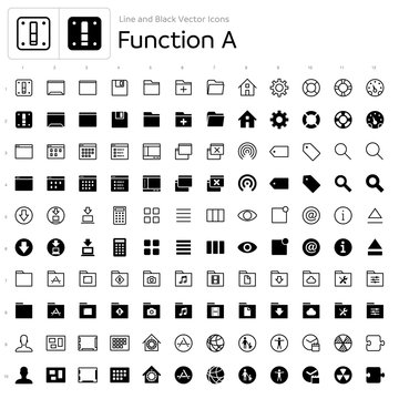 Line and Black Vector Icons - Function A