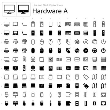 Line and Black Vector Icons - Hardware A