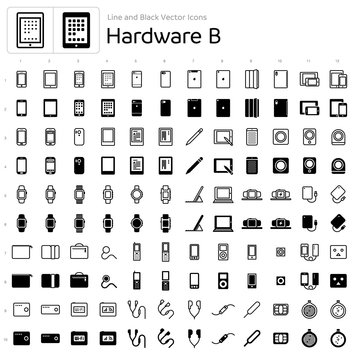 Line and Black Vector Icons - Hardware B