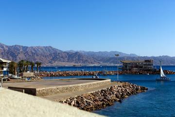 Beautiful sea landscape in Montenegro background in retro style