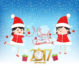 Merry christmas and happy new year 2017 with clock and funny kids