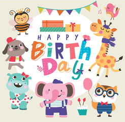 Birthday card with group of cute little animals