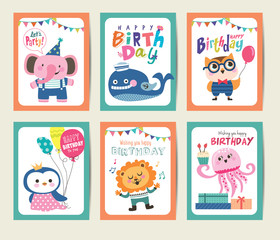 Set of birthday card with cute animals