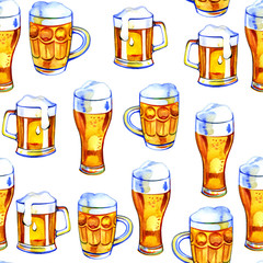Seamless pattern with beer. Hand drawn in watercolor