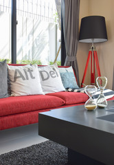 modern red sofa with pillows and lamp in living room at home