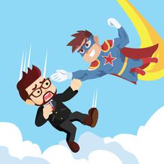 superhero flying catching falling people