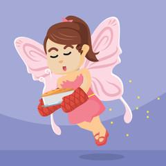fairy girl flying carrying cake