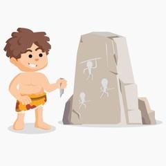 caveman drawing on stone