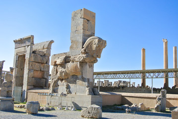 Ancient Column with Horse Head at Persepolis, Iran