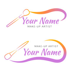 Makeup logo with brush and curved line.