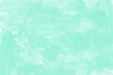 Abstract hand drawn green watercolor illustration on white background, copy space for text