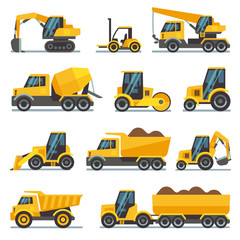 Industrial construction equipment and machinery flat vector icons