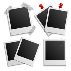 Retro photo frames on white