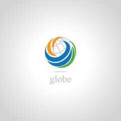 globe swirl abstract logo