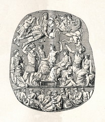 Great Cameo of France or Tiberius cameo; ca. 23 AD (from Meyers Lexikon, 1895, 7/286-7)